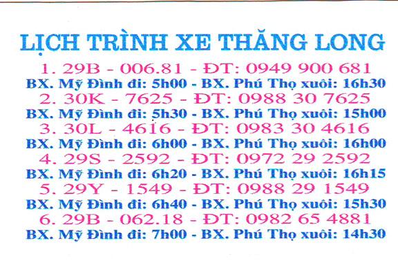 Xe khách Thăng Long: Mỹ Đình, Hà Nội đi Phú Thọ