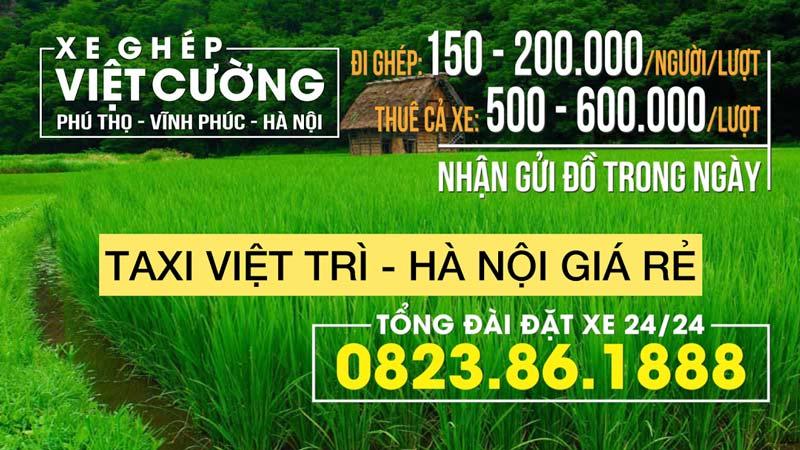 Xe ghép Việt Cường: Việt Trì - Hà Nội
